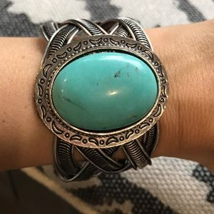 Silver and turquoise cuff bracelet